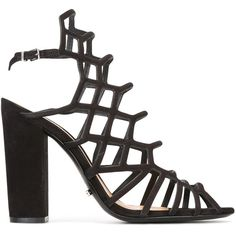 Schutz cage style heeled sandals (£165) ❤ liked on Polyvore featuring shoes, sandals, black, black caged sandals, black leather sandals, black shoes, real leather shoes and genuine leather shoes