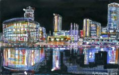 Media City, Salford by Anthony McCarthy. Salford, Times Square, City, Drawings, Painting, Travel, Viajes, Painting Art, Cities