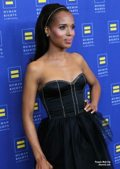 Kerry Washington arrive à la 2013 Gala Human Rights Campaign - love her Barbie-inspired ponytail