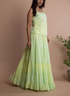 Bring a feminine touch to your style with this mint green full flare layered tie-dye frilled floor length skirt and top! Kurta Designs Women, Salwar Designs, Lehenga Designs, Blouse Designs, Indian Fashion Designers, Indian Designer Outfits, Designer Dresses, Long Gown Dress, Party Wear Dresses