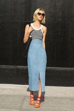 #denim #maxi #skirt