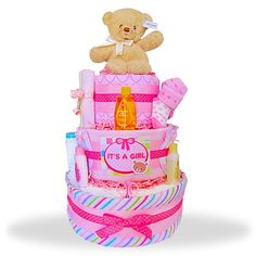 It's A Girl! This large pink 3 tiered diaper cake makes a great presentation for a baby shower. Baby items and plush Gund bear finish off this diaper cake that mom is sure to love. We stuffed this cake with essential items needed to care for the new baby. Baby Girl Gift Baskets, Baby Shower Gift Basket, Baby Shower Diapers, Baby Girl Gifts, Baby Shower Cakes, Baby Shower Gifts, Shower Baby, Diaper Shower, Pink Diaper Cakes