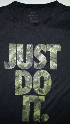 7e7b55a9 Men's Nike Dri Fit Just Do It T Shirt Size Large L Black camo camouflage  army