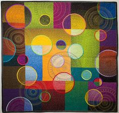"I love these really modern quilts. Quilt by Libby Lehman, ""High Hopes"" Quilting Projects, Quilting Designs, Drunkards Path Quilt, Circle Quilts, Quilt Modernen, Colorful Quilts, Art Textile, Quilt Festival, Contemporary Quilts"