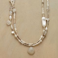 """MODERN GIRL'S PEARL NECKLACE -- The timeless allure of pearls gets a present-day spin in a modern girl's pearl necklace that combines the milky luminescence of moonstone with lustrous freshwater pearls and shimmering sterling silver accents. Handmade in USA exclusively for Sundance. Lobster clasp. 17""""L."""