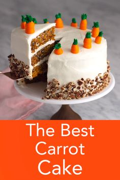 A moist and delicious carrot cake from Preppy Kitchen covered in cream cheese frosting with toasted pecans and topped with easy buttercream carrots bestcakes carrotcake bestcarrotcake Homemade Carrot Cake, Easy Carrot Cake, Moist Carrot Cakes, Homemade Breads, Eggless Carrot Cake, Carrot Cake Topping, Carrot Cake Frosting, Carrot Cake Loaf, Carrot Cake Cupcakes