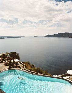 Pool overlooking the ocean, Santorini