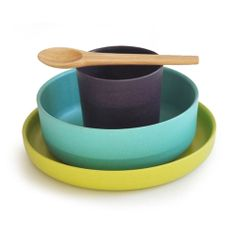 Bibou Bambino Kids dish set by Ekobo, Green, Blue & Grey