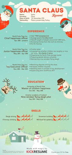Sleigh driving, visiting 1700 homes per second or Ho Ho Hooing... Ever wonder what Santa's resume looks like? Let's see what we can find in his resume!  #santasresume #resume #santa #christmas #cv #facts #design #claus #infographic
