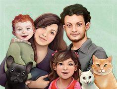 I just love this etsy artist's custom family portraits <3 -ThalitaDol