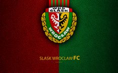 Download wallpapers Slask Wroclaw FC, 4k, football, emblem, logo, Polish football club, leather texture, Ekstraklasa, Wroclaw, Poland, Polish Football Championships
