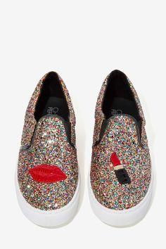 Chiara Ferragni Glitter Lips Slip-On Sneaker | Shop What's New at Nasty Gal