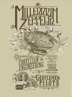 Millenium Zeppelin - byChris Kawagiwa    T-Shirt available at Mighty Fine    Blog Flickr Twitter  (Via:tiefighters)