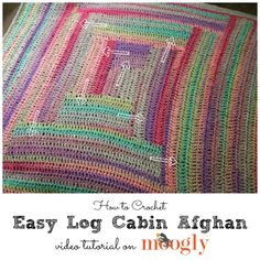 Learn to crochet this Easy Log Cabin Afghan with Moogly's video tutorial! Make it with beautiful Lion Brand Textures!