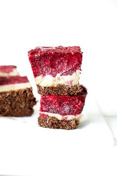 Raw Vegan Chocolate Raspberry Cheesecake Bars - not gluten free, but would be an easy modification I think!