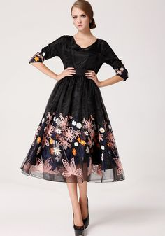Black Flowers Embroidery 3/4 Sleeves Organza Dress - Maxi Dresses - Dresses