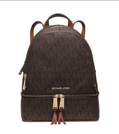 NWT MICHAEL Michael Kors Rhea Brown MK Logo Signature PVC Zip Backpack Bag $298 #MichaelKors #Backpack