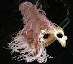 MT14 Giulietta Mask Giuliet MT14  Handmade Venetian mask made in Venice, pink with plumes