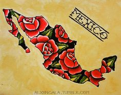 Mexican country shape tattoo by:Alxbngala Rose Tattoos, Body Art Tattoos, Sleeve Tattoos, Mexican American, Latina Tattoo, Los Muertos Tattoo, Mexican Art Tattoos, Mexican Flowers, Outline Art