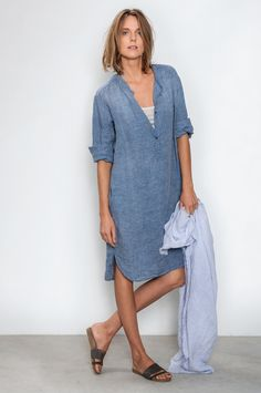 You can get these kinds of denim dresses at Levi's, i have two of them, they're amazing.