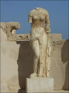 Statue of Venus from Sabratha, Libya, in the so-called 'wet-style' which means that her clothes appear to be wet and sticking to her body. It makes her the first pin-up.