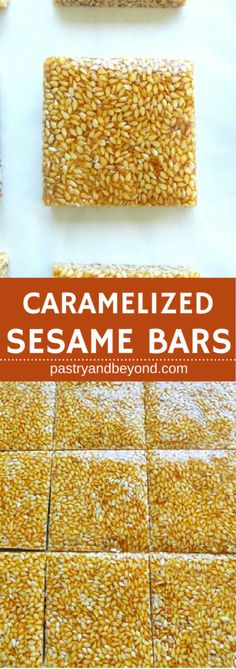 Sesame Bars-These sesame bars are very easy to make! You can easily make caramelized sesame seeds with 2 ingredients!#caramelizedsesamebars #sesamecandy #caramelizedsesameseeds Recipe on pastryandbeyond.com