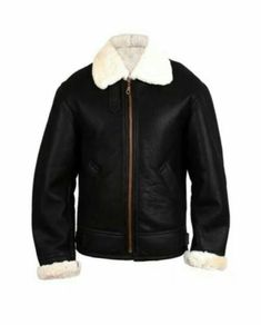Mens Aviator RAF B3 Black White Shearling Sheepskin Leather Bomber Flying Jacket Products Details:  Material : Real Leather Original Shearling Fur Color: Black Front: Full Zip Closure Pockets: Two Pockets on Waist Collar: Belted Collar
