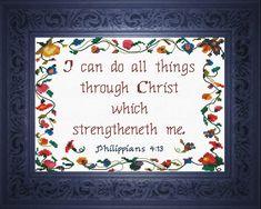Through Christ - Philippians Cross Stitch Design Cross Stitch Designs, Cross Stitch Patterns, Cross Stitching, Cross Stitch Embroidery, Cross Stitch Quotes, Philippians 4 13, Handmade Christmas Gifts, Jesus Saves, Baby Design