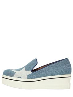 Pin for Later: The 8 Types of Trainers Every Fashion Girl Needs in Her Wardrobe This Season  Stella McCartney 60mm Star Cotton Denim Wedge Trainers (£320)