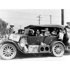 1930s Great Depression Migrant Workers Headed for California. These old car's were more than just people transporters. They moved homes and families and everything in between. Vintage photo