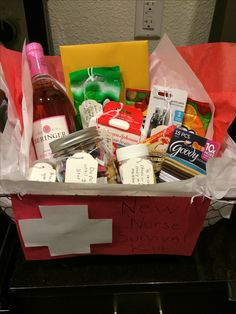 Nurse graduation gift diy gift basket uniquelywomen diy i made this new nurse survival kit for my friend i included a quote jar solutioingenieria Choice Image