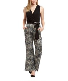 Look at this #zulilyfind! Black & Gray Abstract Jumpsuit - Women #zulilyfinds