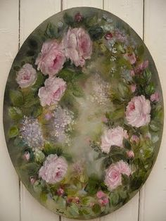 Reminds me of a painting a relative made years ago. Art Floral, China Painting, Tole Painting, Painting & Drawing, Vintage Images, Vintage Art, Vintage Rosen, Coming Up Roses, Rose Art