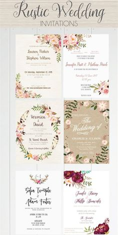 A beautiful selection of printable wedding invitations from rustic to boho, to c… - Hochzeitseinladung Unique Wedding Invitation Wording, Free Printable Wedding Invitations, Rustic Invitations, Wedding Stationary, Wedding Invitation Cards, Wedding Cards, Invitation Ideas, Wedding Wishes, Invitation Suite