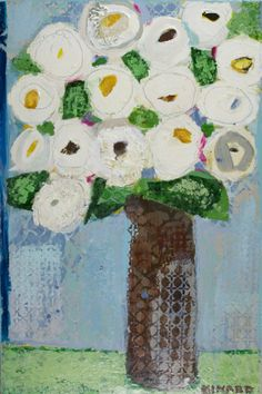 White Roses on Blue  mixed media 36x24 Atelier Galleries  843-722-5668