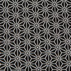 Tissu à motif japonais asanoha etoiles noir 100% coton