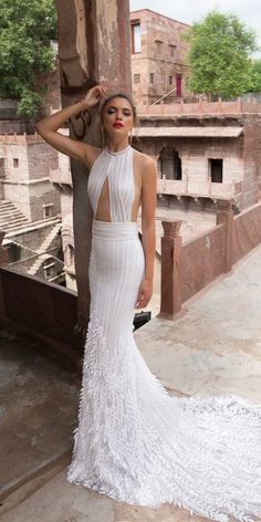 Trendy Wedding Dresses 2018 For Contemporary Bride ❤ trendy wedding dresses sheath halter necklne sexy 2018 lior charchy ❤ Full gallery: https://weddingdressesguide.com/trendy-wedding-dresses/ #bride #wedding #bridalgown