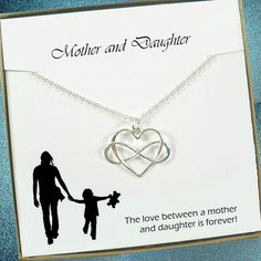 Mother Daughter Necklace Gift - Infinity Heart Necklace, Sterling Silver