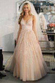 Pearl Pink V Neck Sleeveless A Line Embroidered Tulle Wedding Gown Attire