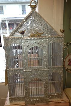 Glittered Bird Cage by TheRosePetalPorch on Etsy, $175.00. I hate birds but I love love love this cage