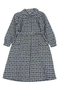 French vintage gray plaid work dress/France 1950's/black