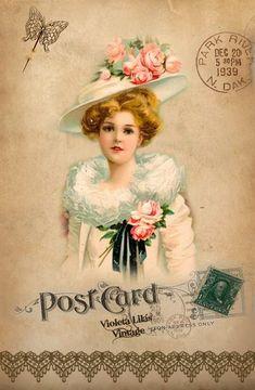 Série de cartões postais feitos por Violeta Lilás Vintage