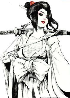 WHITE DRAGON WARRIOR GEISHA by winwinwinwin.deviantart.com on @deviantART