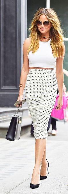 Polka Dot Pencil skirt  • Street 'CHIC • ❤️ ✿ιиѕριяαтισи❀ #abbigliamento
