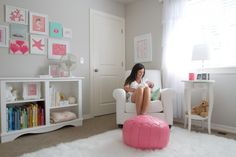 Pretty turquoise and pink nursery