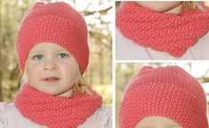The papaya punch knitted hat and neck warmer set has a lovely texture. It is guaranteed to keep a little girl warm during cold days ahead. Knitted Hats Kids, Baby Hats Knitting, Knitting For Kids, Free Knitting, Knitted Baby, Knit Hats, Knitting Projects, Baby Hat Patterns, Baby Knitting Patterns