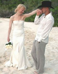 Renee Zellweger wedded Kenney Chesney on St. John in the Virgin Islands. Her beach wedding dress was a satin Carolina Herrera design....sweet, elegant and simple.  It was a romantic whirlwind romance that ended in divorce merely 4 months later.