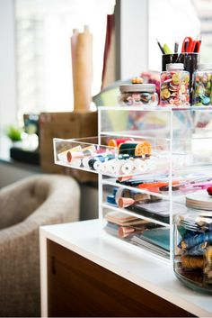 Craftwisdom get inspired with craft room organization tips and ideas on the Sewing Room Storage, Sewing Room Decor, Sewing Room Organization, My Sewing Room, Craft Room Storage, Sewing Rooms, Organization Hacks, Craft Rooms, Organization Station