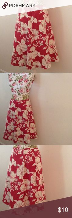 """Ann Taylor EUC COTTON/LINEN Skirt 💕 Measures 28"""" waist , 22"""" long. This skirt is adorable and see pics for perfect silk lining - not see thru . Color is reddish pink and off white flowers . Classy , flattering cut. Smoke free home . Ann Taylor Skirts Midi"""