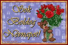 Maci piros rózsacsokorral, képeslap névnapra nőknek és gyerekeknek.